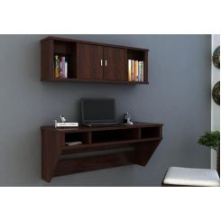 Canyon Wall-Mount Study Table With Shelf (Walnut Finish)