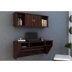 Canyon Wall-Mount Study Table With Shelf (Walnut Finish)
