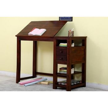 study table with bookshelf and computer