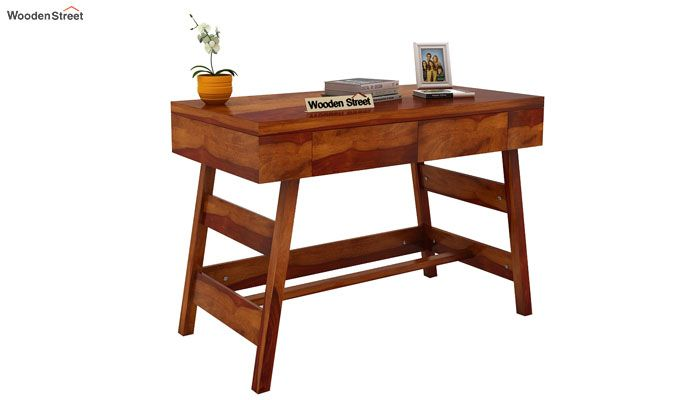 Thomas Study Table With Drawer (Honey Finish)-2