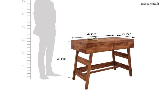 Thomas Study Table With Drawer (Teak Finish)-7