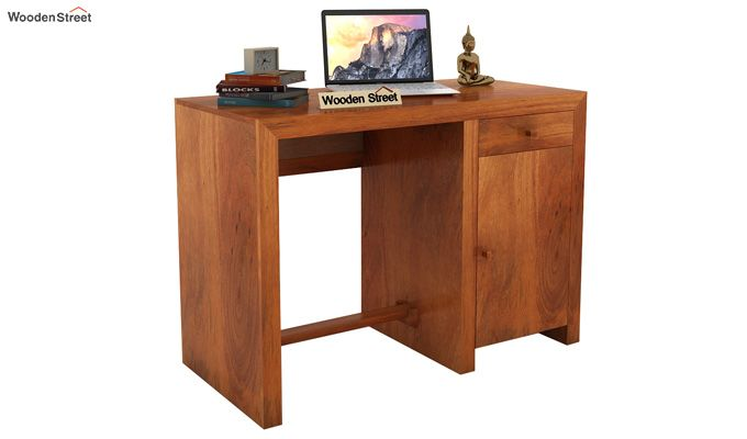 Tiffany Solid Wooden Study Table (Honey Finish)-1