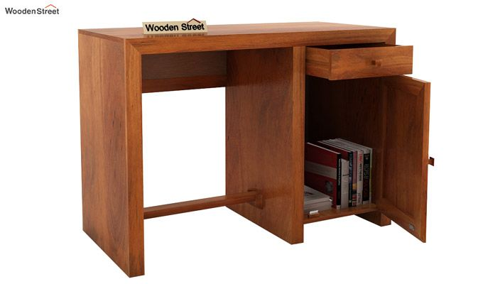 Tiffany Solid Wooden Study Table (Honey Finish)-5