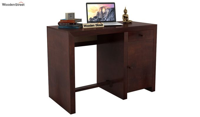 Tiffany Solid Wooden Study Table (Walnut Finish)-1