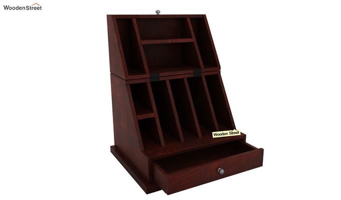 Tyrone Table Cum Shelf (Mahogany Finish)-4