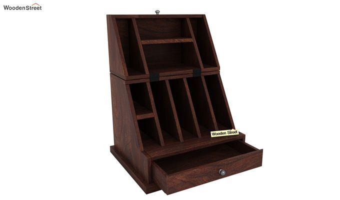 Tyrone Table Cum Shelf (Walnut Finish)-6