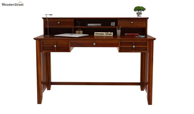Wallace Computer Table With Drawers (Honey Finish)-3