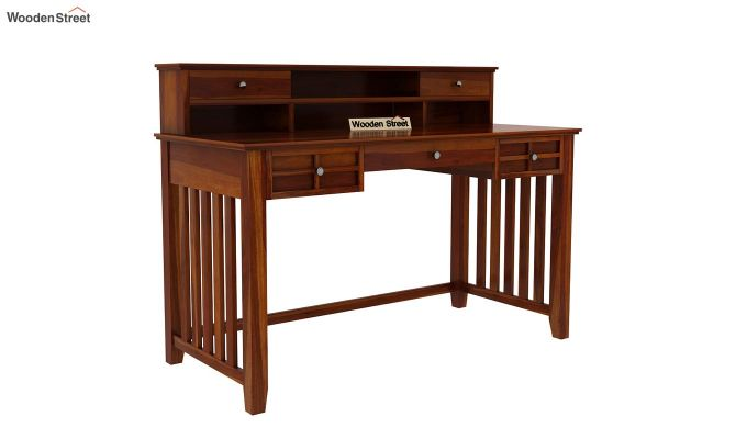 Wallace Computer Table With Drawers (Honey Finish)-4