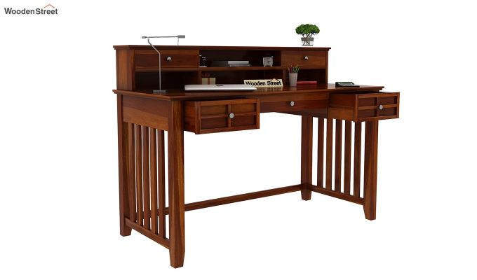 Wallace Computer Table With Drawers (Honey Finish)-5