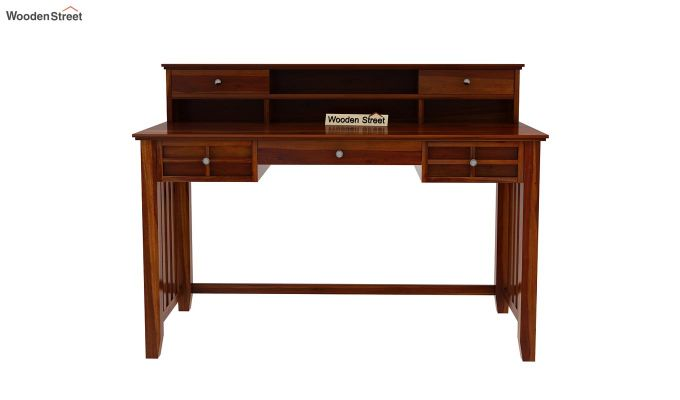 Wallace Computer Table With Drawers (Honey Finish)-6