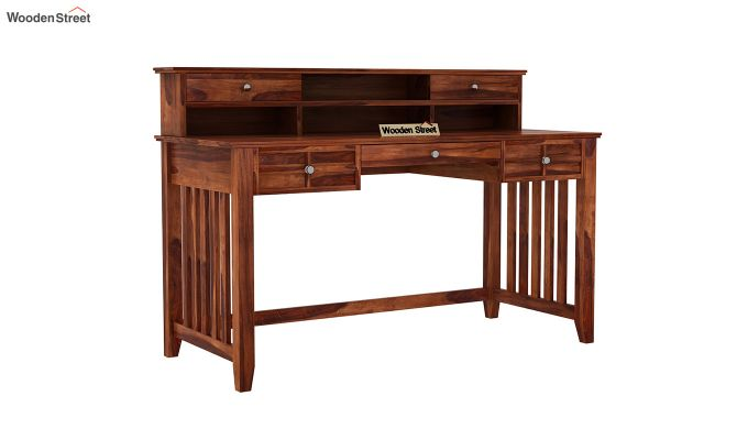 Wallace Computer Table With Drawers (Honey Finish)-2