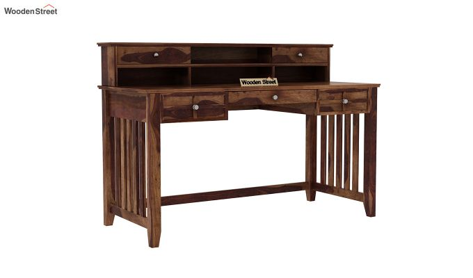 Wallace Computer Table With Drawers (Teak Finish)-2