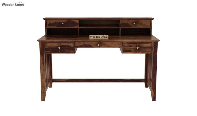 Wallace Computer Table With Drawers (Teak Finish)-3