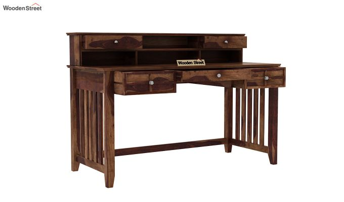 Wallace Computer Table With Drawers (Teak Finish)-4
