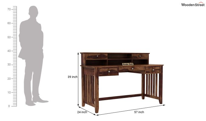 Wallace Computer Table With Drawers (Teak Finish)-6