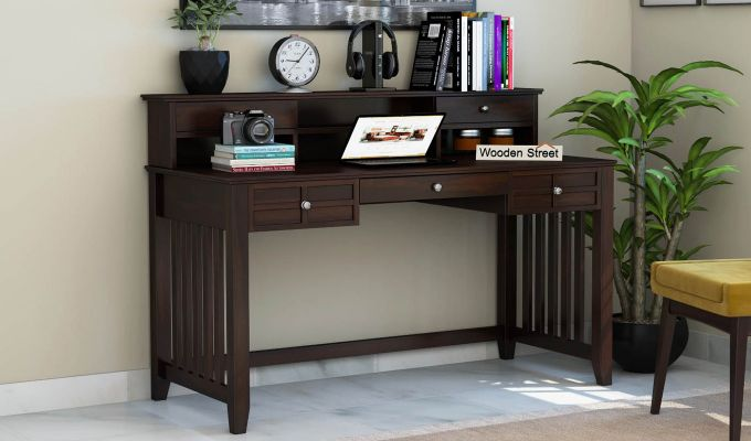 Wallace Computer Table With Drawers (Walnut Finish)-1
