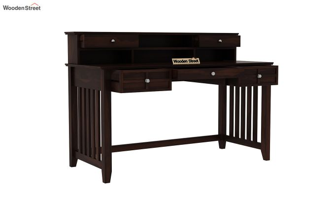 Wallace Computer Table With Drawers (Walnut Finish)-4