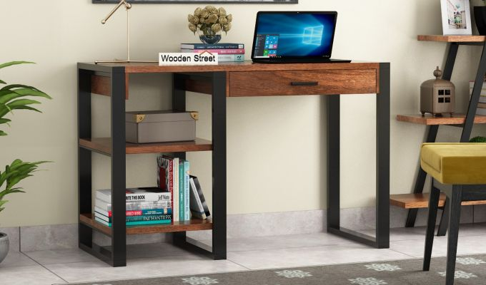 Wally Study Table (Teak Finish)-1