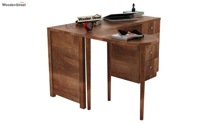 Zach Study Table With Storage (Teak Finish)-2