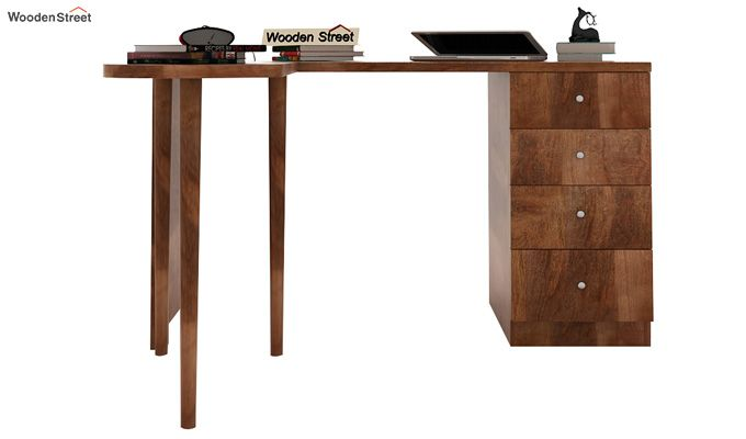 Zach Study Table With Storage (Teak Finish)-5