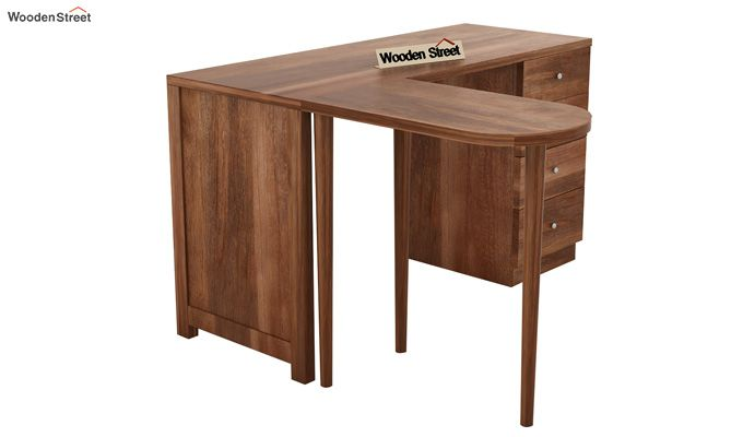 Zach Study Table With Storage (Teak Finish)-7