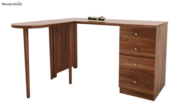 Zach Study Table With Storage (Teak Finish)-8