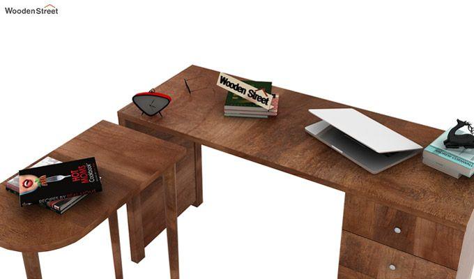 Zach Study Table With Storage (Teak Finish)-10