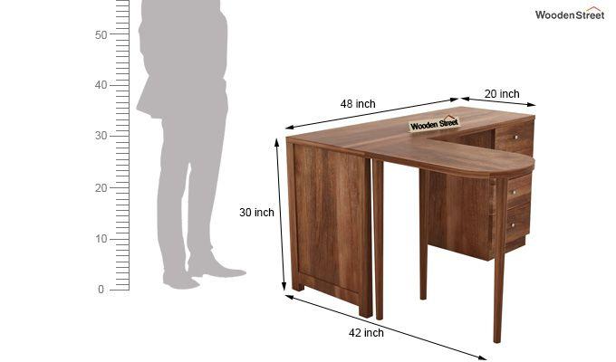Zach Study Table With Storage (Teak Finish)-11