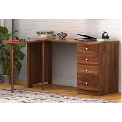 Zach Study Table With Storage (Teak Finish)