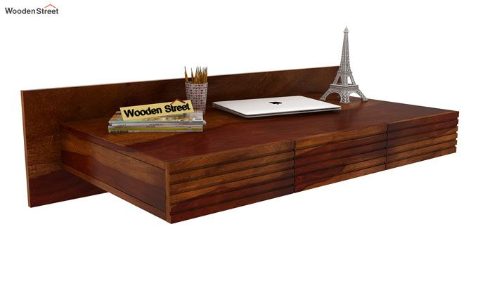 Zeni Wall Mounted Study Table (Honey Finish)-1