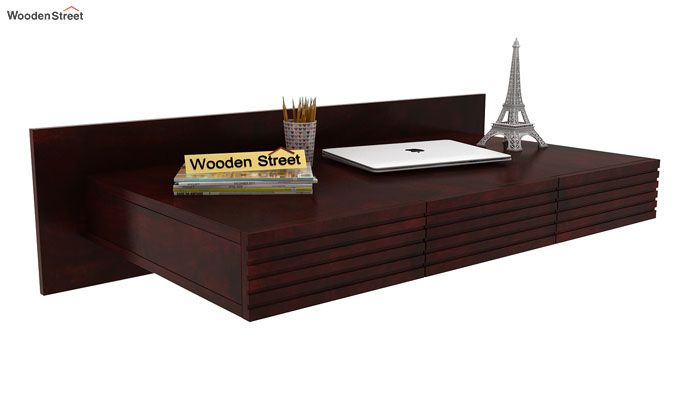 Zeni Wall Mounted Study Table (Mahogany Finish)-1