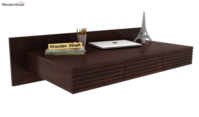 Zeni Wall Mounted Study Table (Walnut Finish)-1