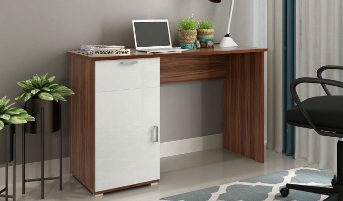 Mira Study Table with Frosty White Drawer (Exotic Teak Finish)-1