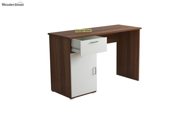 Mira Study Table with Frosty White Drawer (Exotic Teak Finish)-4