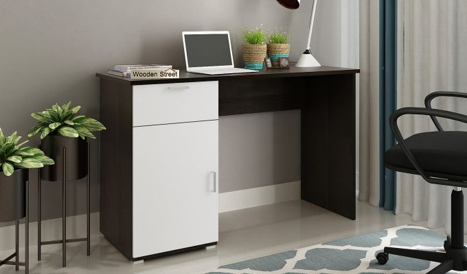 Mira Study Table with Frosty White Drawer (Flowery Wenge Finish)-1