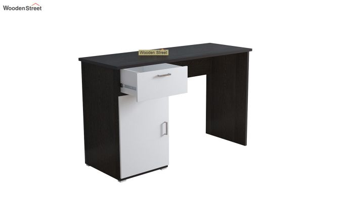 Mira Study Table with Frosty White Drawer (Flowery Wenge Finish)-4