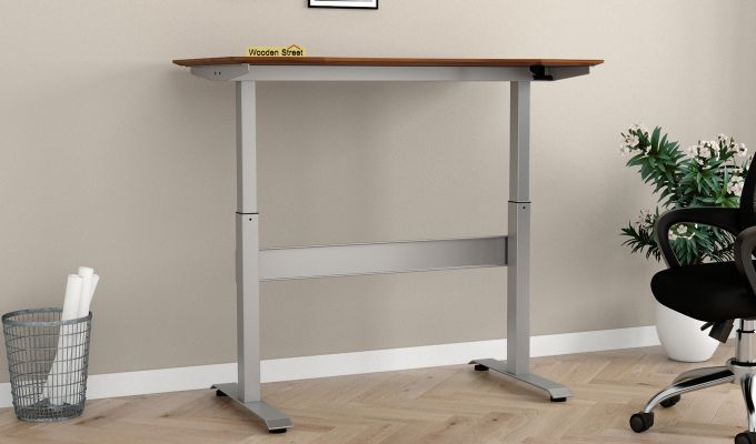 Remo Hydraulic Study Table (Exotic Teak Finish)-2