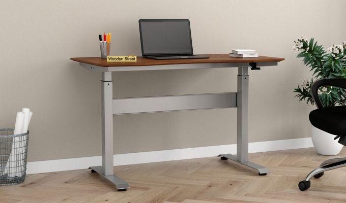 Remo Hydraulic Study Table (Exotic Teak Finish)-1