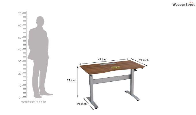 Remo Hydraulic Study Table (Exotic Teak Finish)-8