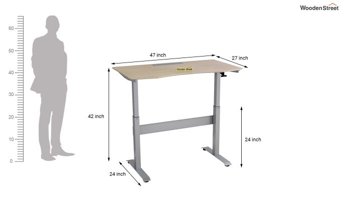 Remo Hydraulic Study Table (Ice Beech Finish)-9