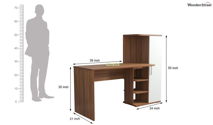 Stanis Study Table with Frosty White Drawer (Exotic Teak Finish)-5