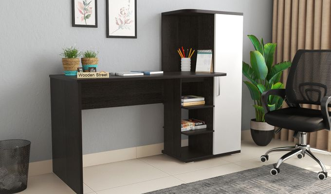 Stanis Study Table with Frosty White Drawer (Flowery Wenge Finish)-1