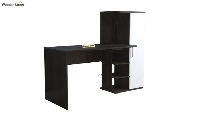 Stanis Study Table with Frosty White Drawer (Flowery Wenge Finish)-2