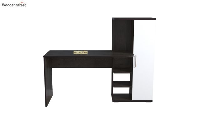 Stanis Study Table with Frosty White Drawer (Flowery Wenge Finish)-3