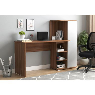 Stanis Study Table with Frosty White Drawer (Exotic Teak Finish)