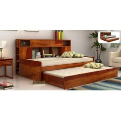 Adeline Sofa Cum Bed (Honey Finish)