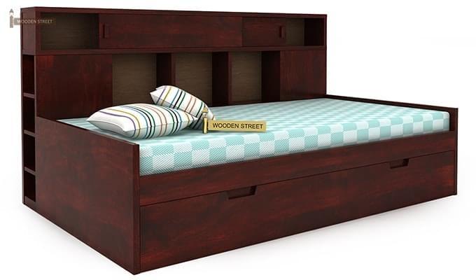 Adeline Sofa Cum Bed (Mahogany Finish)-5
