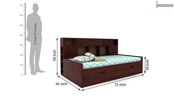 Adeline Sofa Cum Bed (Mahogany Finish)-8