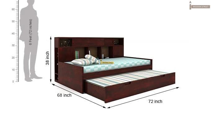 Adeline Sofa Cum Bed (Mahogany Finish)-9
