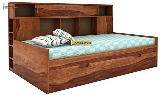 Adeline Sofa Cum Bed (Teak Finish)-1